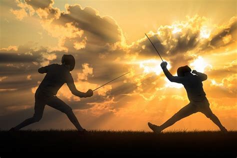 All sizes | Silhouette fencers with sunset | Flickr